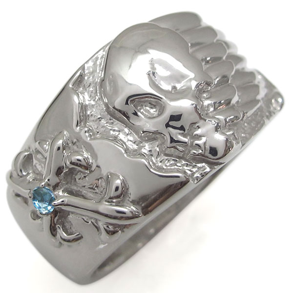 送料無料 誕生石 クロスリング スカルリング 骸骨 指輪 プラチナリング プラチナ 髑髏リング 十字架 指輪 クロスリング 誕生石 メンズリング