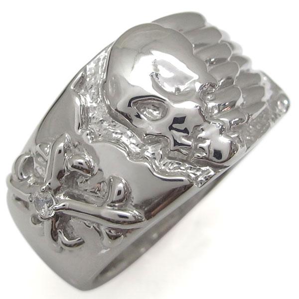 3/20限定AM10時~ プラチナ 十字架 指輪 ダイヤモンド クロスリング 髑髏リング