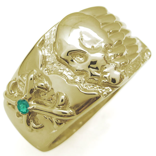 送料無料 10金 メンズリング スカルリング 髑髏 クロス 指輪 誕生石 誕生石 ドクロ リング 骸骨 指輪 K10 メンズリング