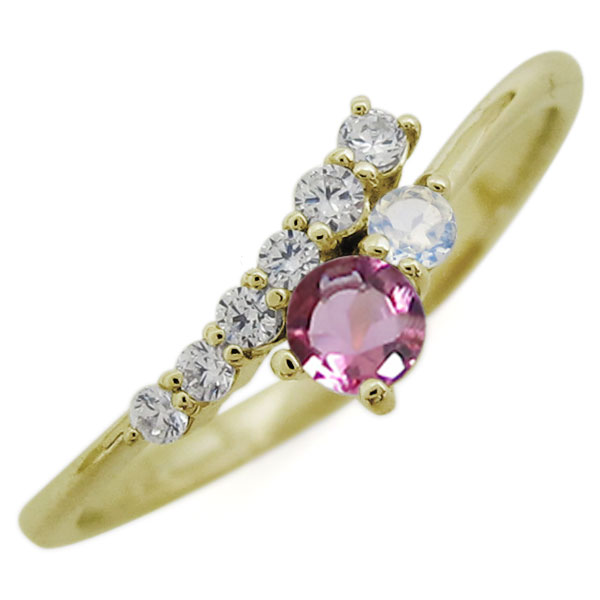 K18 シンプル リング ピンクトルマリン エレガント 指輪