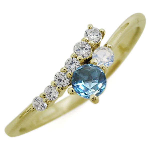 【10%OFFクーポン】5日23:59迄 K18 シンプル リング ブルートパーズ エレガント 指輪