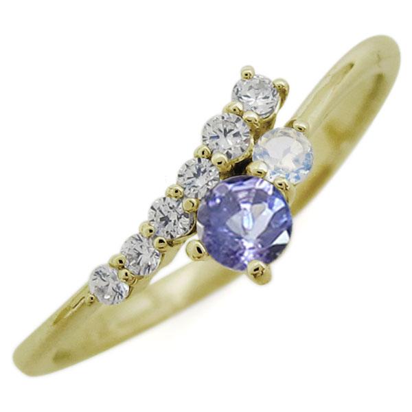 K18 シンプル リング タンザナイト エレガント 指輪