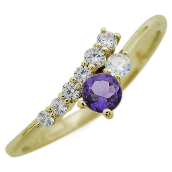 シンプルリング 天然石 リング 誕生石 18金 指輪