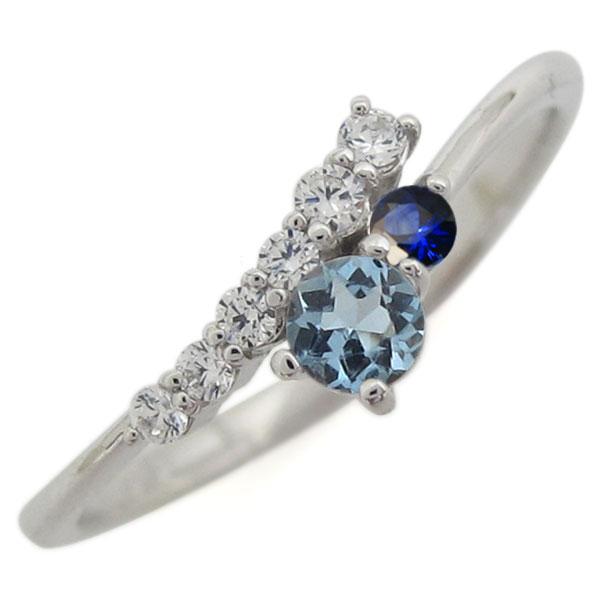 シンプル 指輪 アクアマリンサンタマリア リング レディース プラチナ 母の日 プレゼント