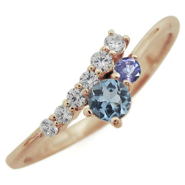 リング 母の日 10金 アクアマリンサンタマリア 指輪 おしゃれ プレゼント レディース シンプル
