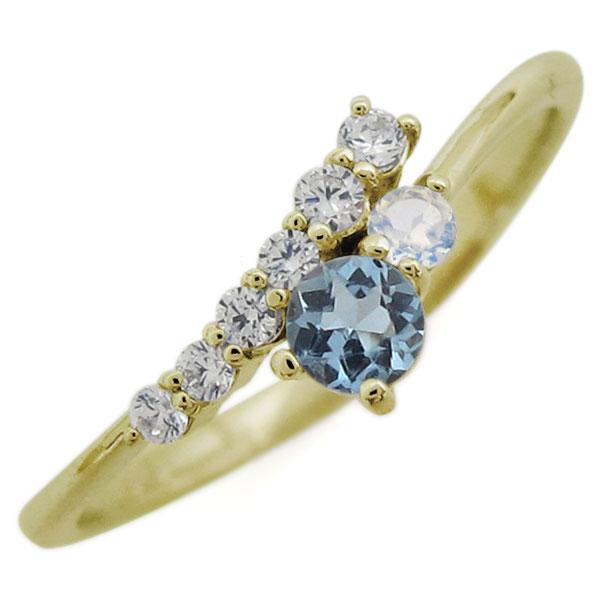 K18 シンプル リング アクアマリンサンタマリア エレガント 指輪