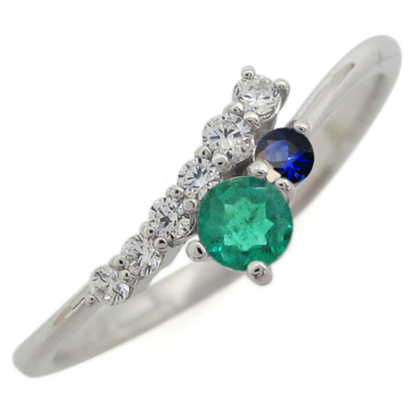 シンプル 指輪 エメラルド リング レディース プラチナ クリスマス プレゼント