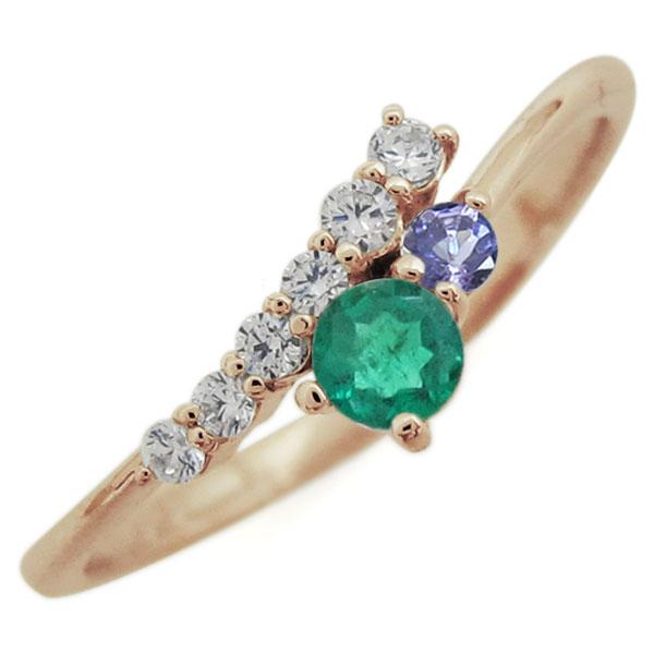 指輪 レディース おしゃれ エメラルド リング シンプル 10金 母の日 プレゼント