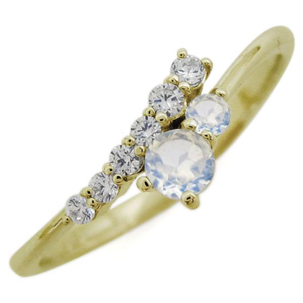 K18 シンプル リング ロイヤルブルームーンストーン エレガント 指輪