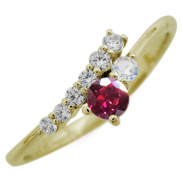 K18 シンプル リング ルビー エレガント 指輪