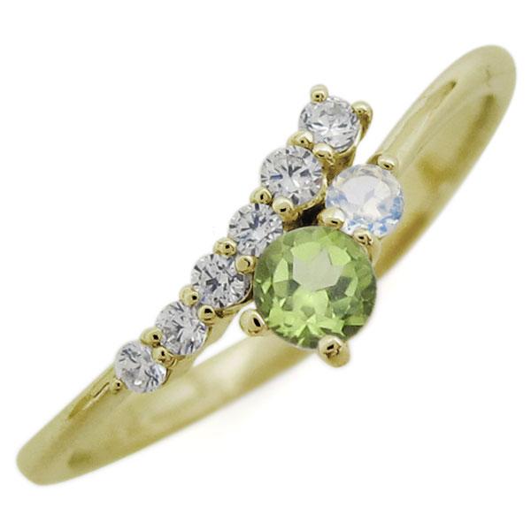 K18 シンプル リング ペリドット エレガント 指輪