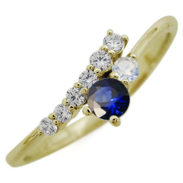 【10%OFF】4日20時~ K18 シンプル リング サファイア エレガント 指輪