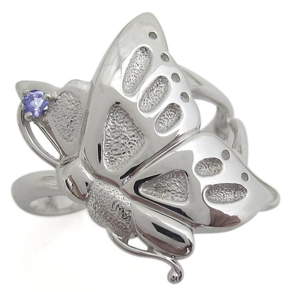 タンザナイト プラチナ 蝶 リング 指輪 バタフライ