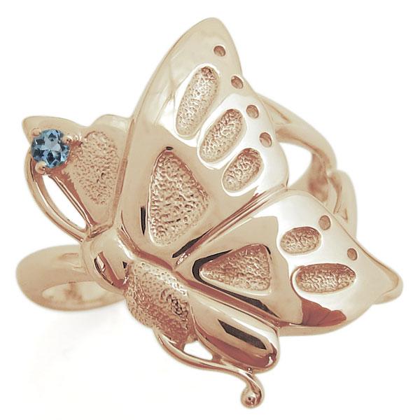 K18 指輪 バタフライリング 蝶 誕生石