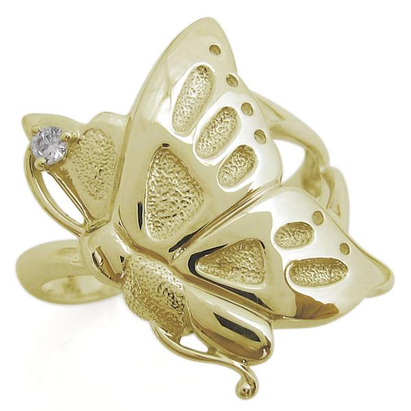 10金 指輪 ダイヤモンド 蝶 バタフライリング