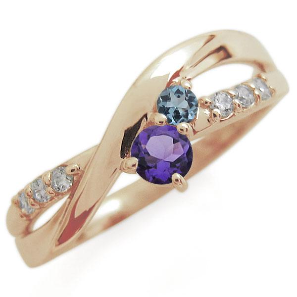 アメジスト エンゲージリング 2本ライン シンプル 10金 婚約指輪