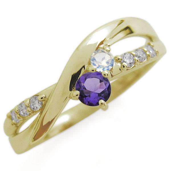 誕生石 シンプルリング天然石 エンゲージリング 18金 婚約指輪
