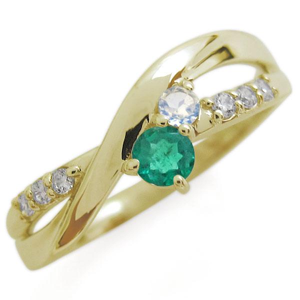 K18 エメラルド リング シンプル エレガント 指輪