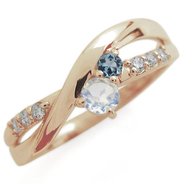 9/11 1:59迄ロイヤルブルームーンストーン エンゲージリング 2本ライン シンプル 10金 婚約指輪