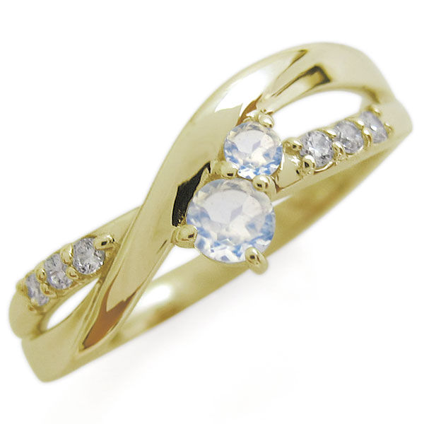 K18 ロイヤルブルームーンストーン エンゲージリング シンプル エレガント 婚約指輪