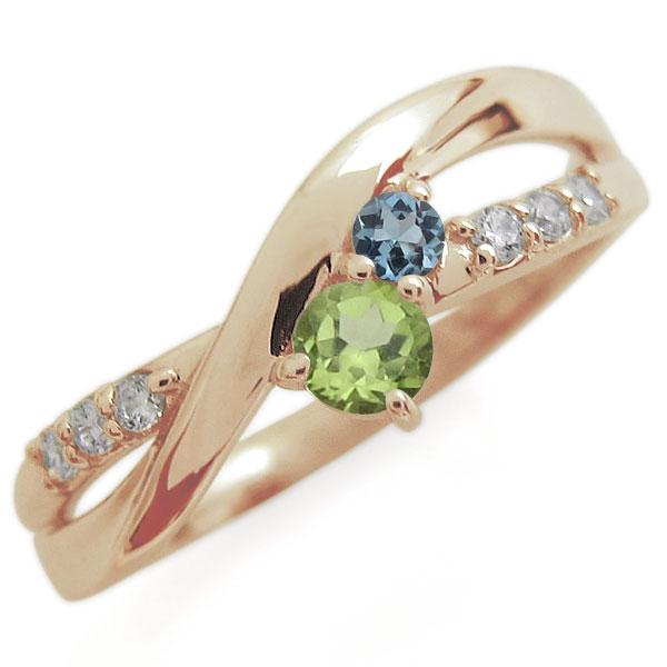 ペリドット エンゲージリング 2本ライン シンプル 10金 婚約指輪