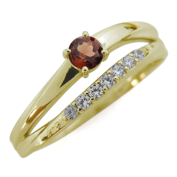 ガーネット 18金 指輪 シンプルリング 2連リング 誕生石