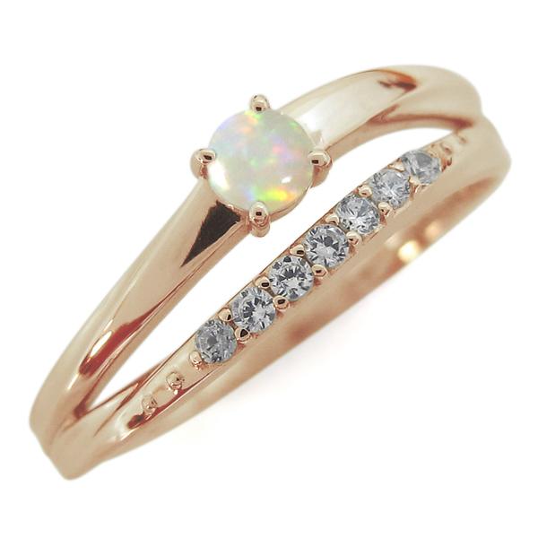 10金 指輪 誕生石 シンプルリング オパールリング 2連