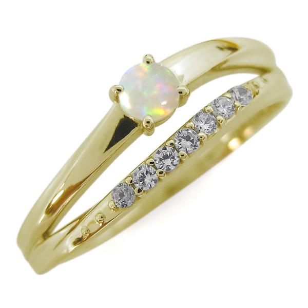 オパール 18金 指輪 シンプルリング 2連リング 誕生石