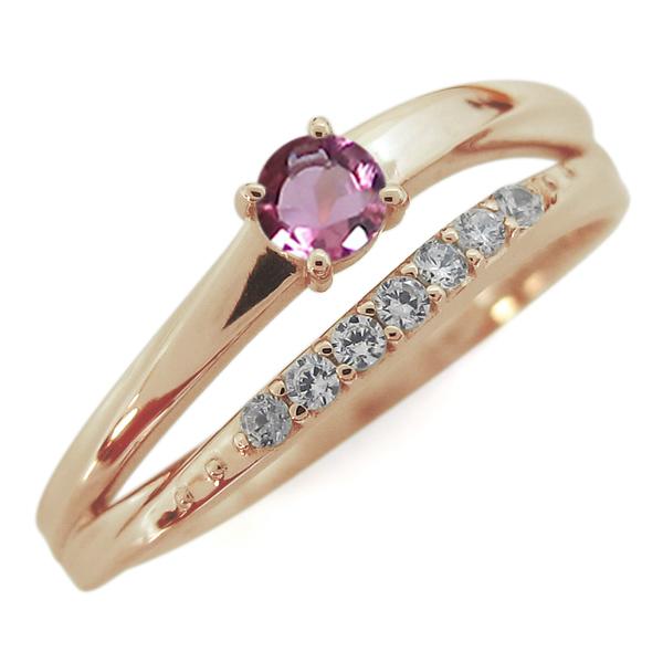 10金 指輪 誕生石 シンプルリング ピンクトルマリンリング 2連