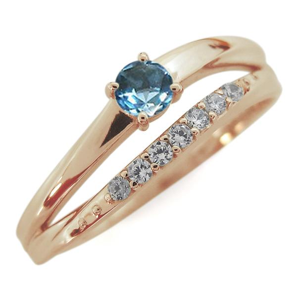 10金 指輪 誕生石 シンプルリング ブルートパーズリング 2連