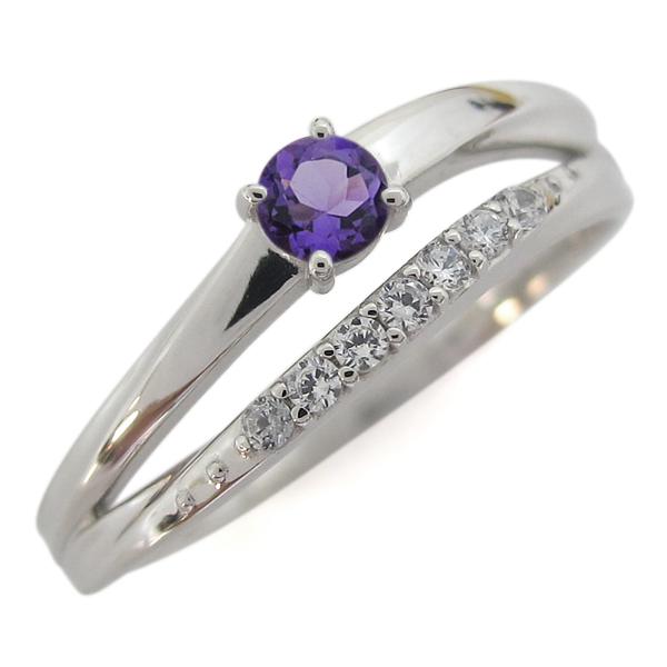 【10%OFF】4日20時~ 指輪 レディース おしゃれ 誕生石 アメジストリング 2連 プラチナ 母の日 プレゼント