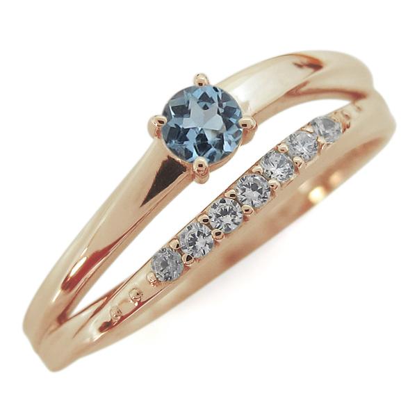 10金 指輪 誕生石 シンプルリング アクアマリンサンタマリアリング 2連