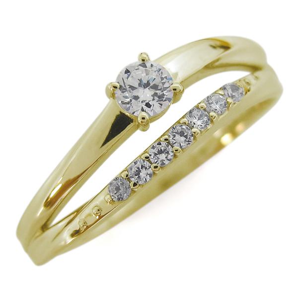 ダイヤモンド 18金 指輪 シンプルリング 2連リング 誕生石