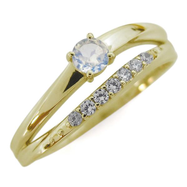 【10%OFF】4日20時~ ロイヤルブルームーンストーン 18金 指輪 シンプルリング 2連リング 誕生石