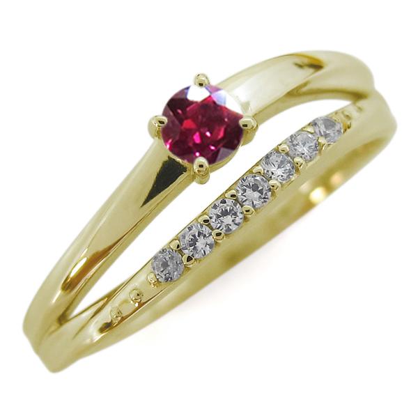 ルビー 18金 指輪 シンプルリング 2連リング 誕生石