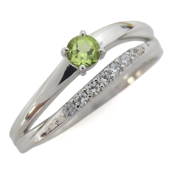 指輪 レディース おしゃれ 誕生石 ペリドットリング 2連 プラチナ 母の日 プレゼント