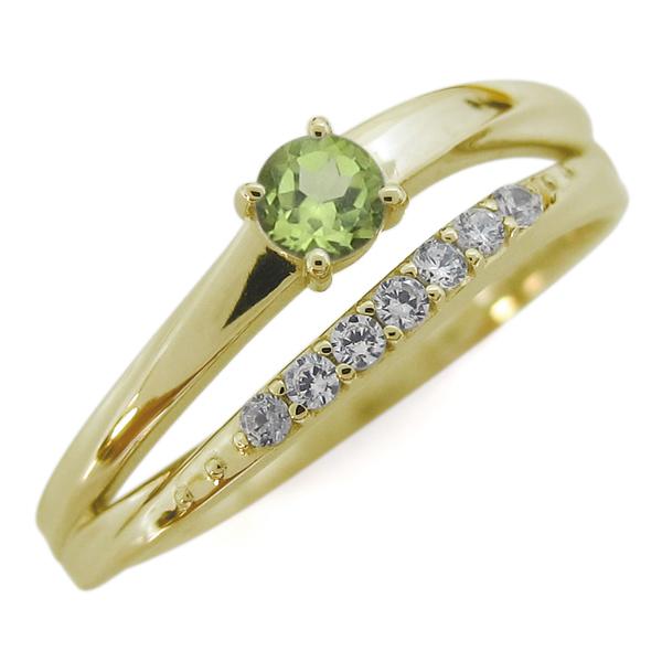 ペリドット 18金 指輪 シンプルリング 2連リング 誕生石