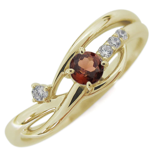 【10%OFFクーポン】5日23:59迄 10金 レディースリング 指輪 誕生石 シンプルリング ガーネット 母の日 プレゼント