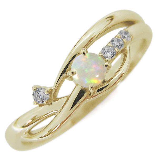 10金 レディースリング 指輪 誕生石 シンプルリング オパール