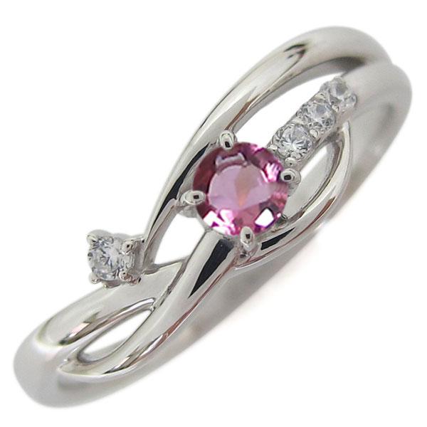 2日20時~ 誕生石 シンプルリング プラチナ ピンクトルマリン レディース 指輪 母の日 プレゼント