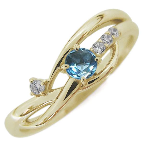 10金 レディースリング 指輪 誕生石 シンプルリング ブルートパーズ 母の日 プレゼント