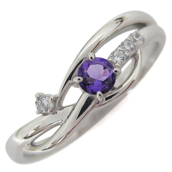 誕生石 シンプルリング プラチナ アメジスト レディース 指輪 母の日 プレゼント