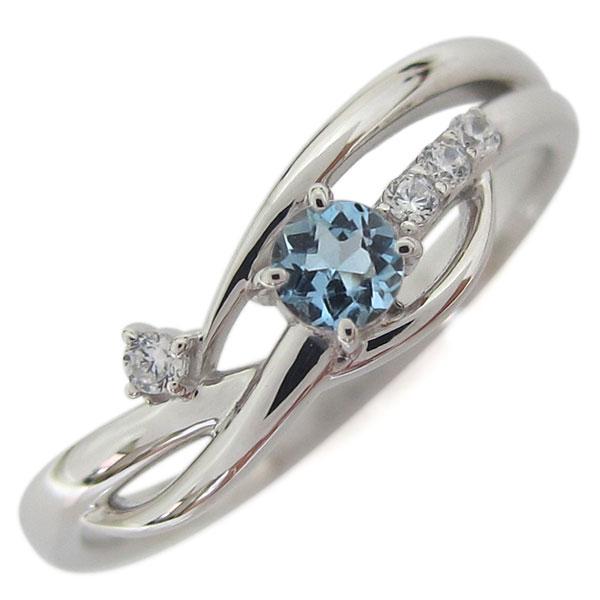 誕生石 シンプルリング プラチナ アクアマリンサンタマリア レディース 指輪 母の日 プレゼント