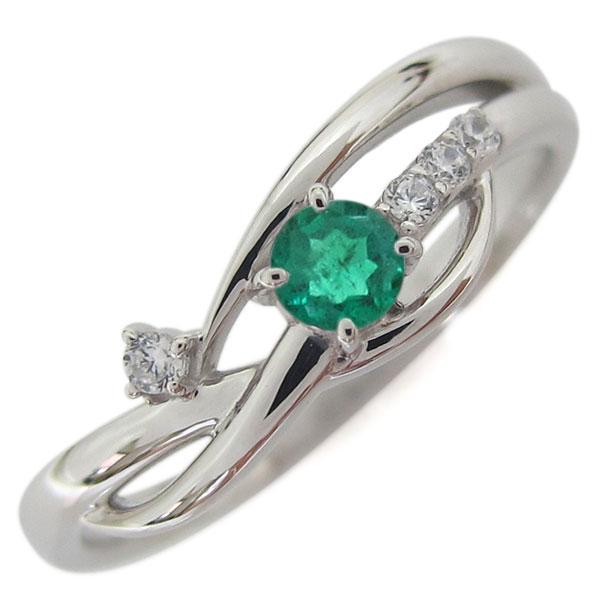 【10%OFF】4日20時~ 誕生石 シンプルリング プラチナ エメラルド レディース 指輪 母の日 プレゼント