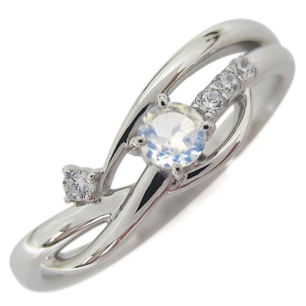 誕生石 シンプルリング プラチナ ロイヤルブルームーンストーン レディース 指輪 母の日 プレゼント