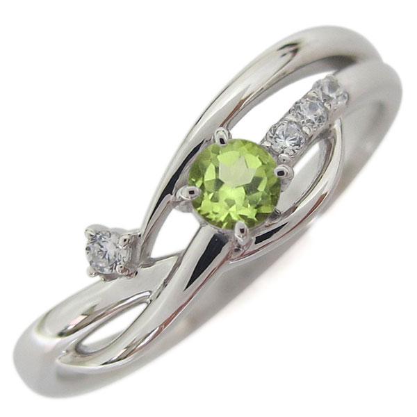 誕生石 シンプルリング プラチナ ペリドット レディース 指輪 ホワイトデー プレゼント