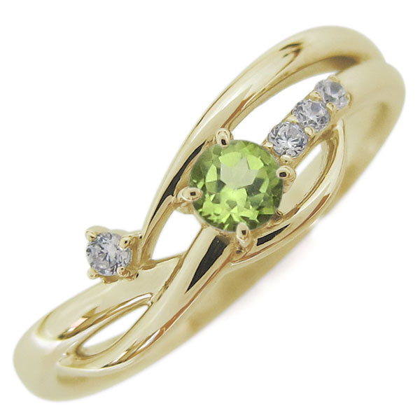 10金 レディースリング 指輪 誕生石 シンプルリング ペリドット