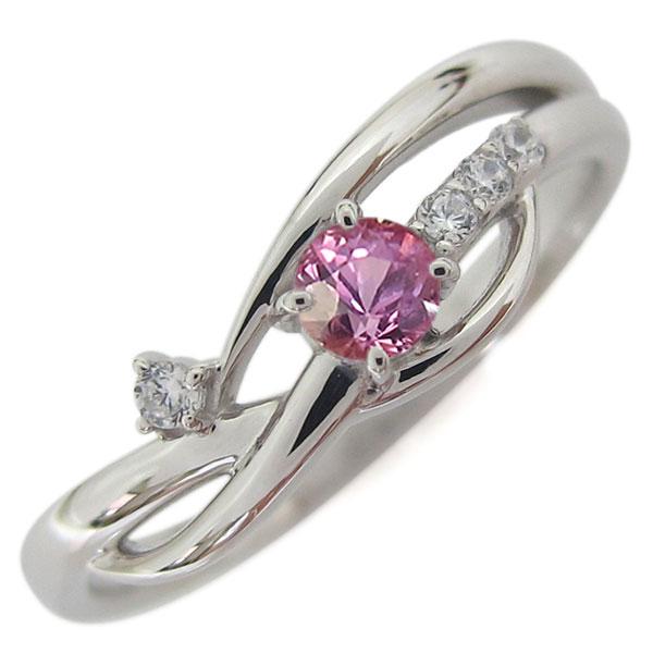 誕生石 シンプルリング プラチナ ピンクサファイア レディース 指輪 母の日 プレゼント