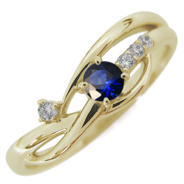 10金 レディースリング 指輪 誕生石 シンプルリング サファイア 母の日 プレゼント