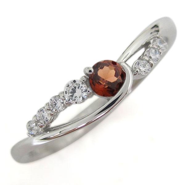 誕生石 プラチナ ガーネット レディース 指輪 シンプルリング 母の日 プレゼント